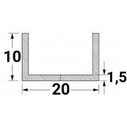 Алюминиевый швеллер 20х10х1,5 - АН